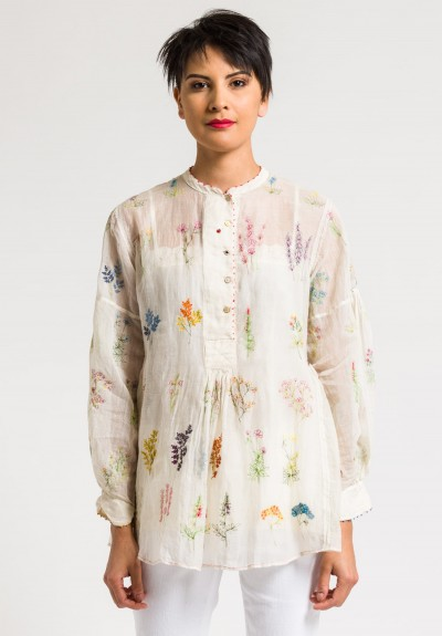 Péro Cotton/Silk Embroidered Floral Sheer Top in Natural