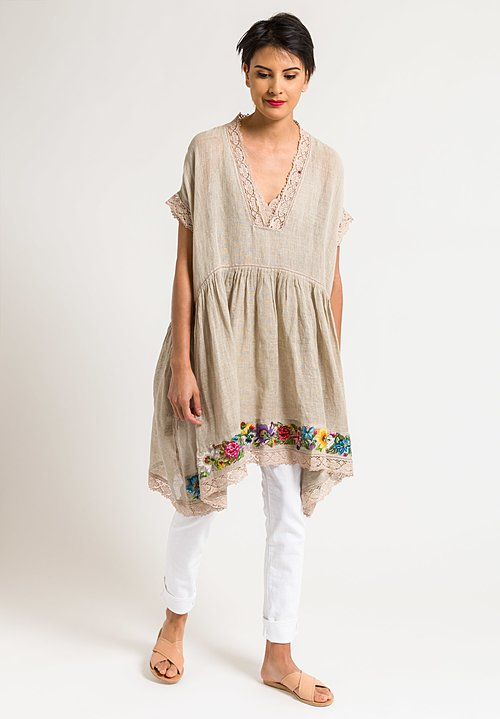 Péro Linen Oversized Sheer Tunic with Embroidered Hem in Natural