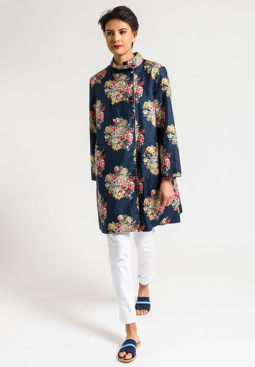 Péro Silk/Cotton Reversible A-Line Jacket in Navy Floral