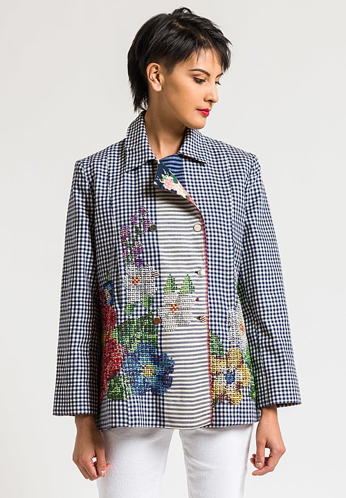 Péro Reversible Intricate Embroidered Jacket in Blue Gingham