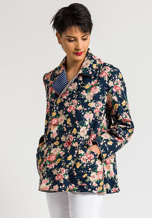 Péro Reversible Embroidered Jacket in Blue Gingham