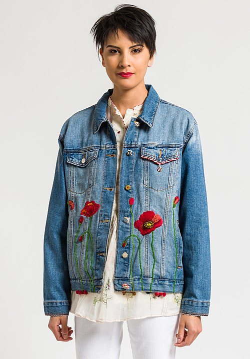 Péro Limited Edition Cotton Denim Jacket in #17 Poppies