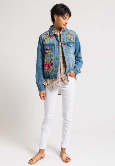 Péro Limited Edition Denim Jacket #16 with Embroidered Flowers