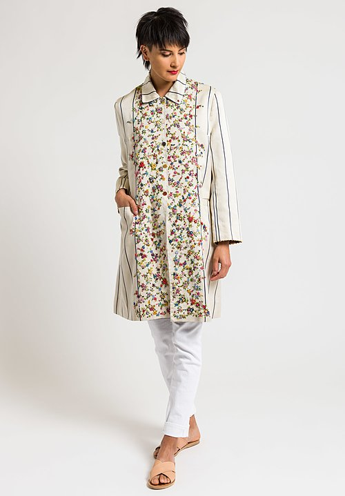 Péro Reversible Striped Coat with Intricate Floral Embroidery