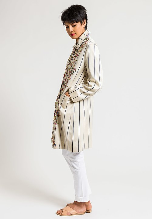 Péro White & Blue Striped Coat with Floral Embroidery