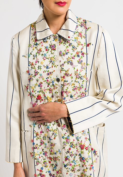 Péro Reversible Coat with Floral Embroidery