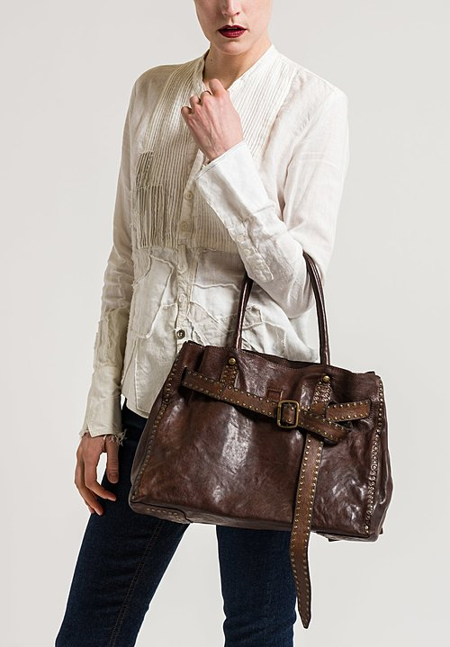 Campomaggi Leather Shopping Bag with Studs in Brown