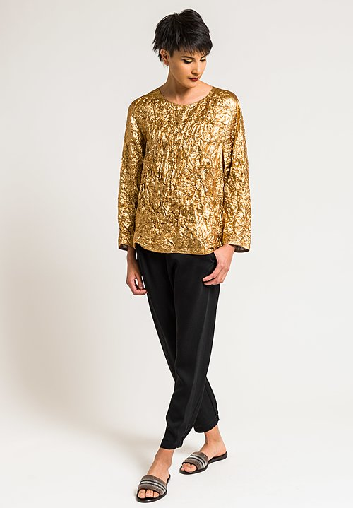 Ms Min Metallic Wide Neck Top in Gold