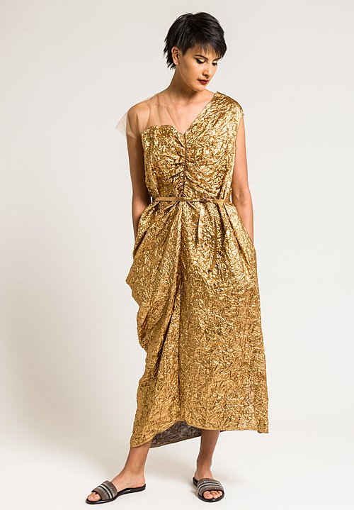 Ms Min Metallic Asymmetric Dress in Gold