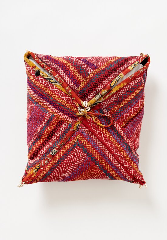 Square African Pillows in Red
