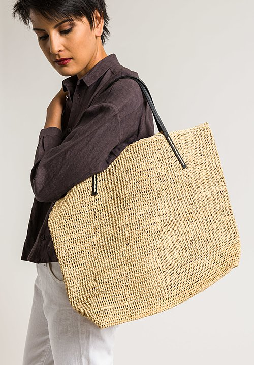 Sans Arcidet Raffia Large Beby Bag in Natural