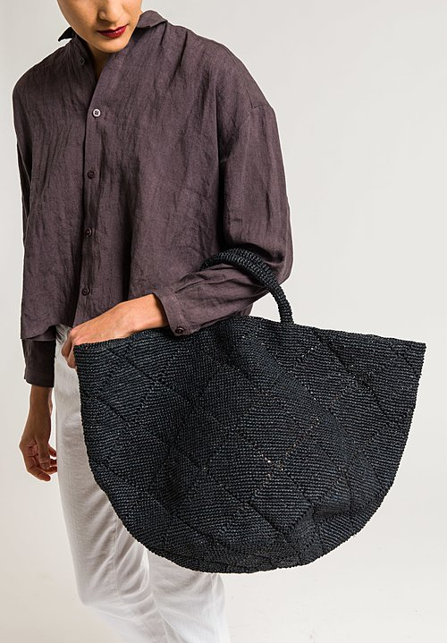 Sans Arcidet Raffia Large Kapity Bag in Black