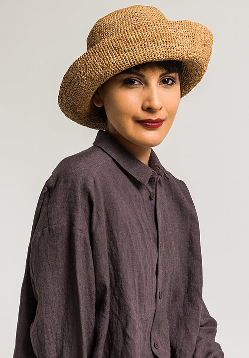 Sans Arcidet Raffia Fany Hat in Brown