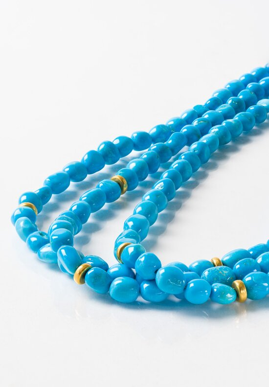 Greig Porter 18K Gold, Sleeping Beauty Turquoise Three Strand Necklace