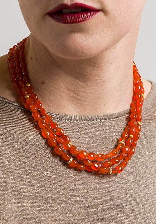 Greig Porter 18K, Carnelian, Diamond 3 Strand Necklace