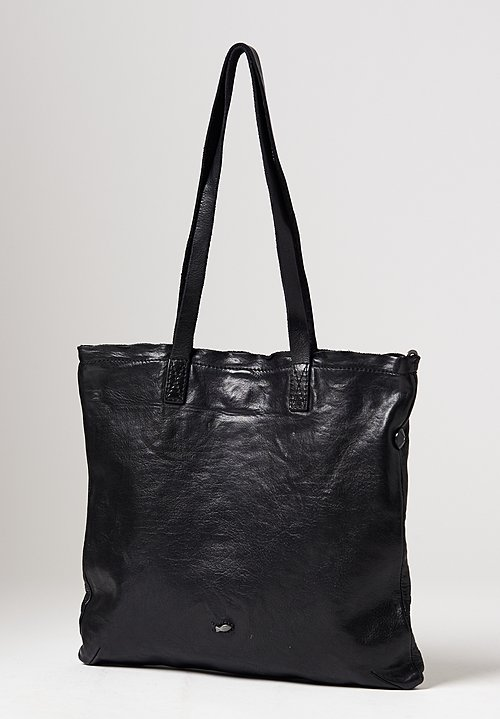 Campomaggi Big Flat Shopping Bag in Black