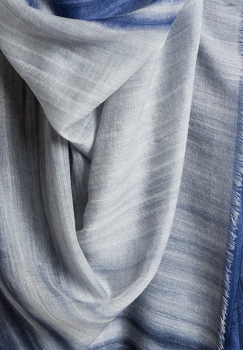 Alonpi Cashmere Cashmere Ombre Summer Scarf in Blue