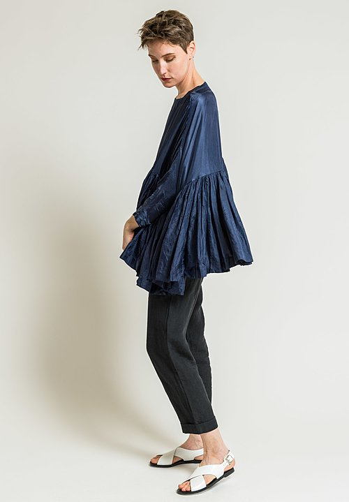 Casey Casey Pleated Twill Top in Navy