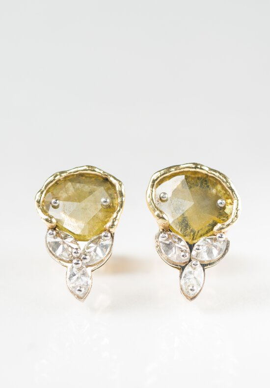 Tap by Todd Pownell Marquise Yellow Slices & Diamond Earrings