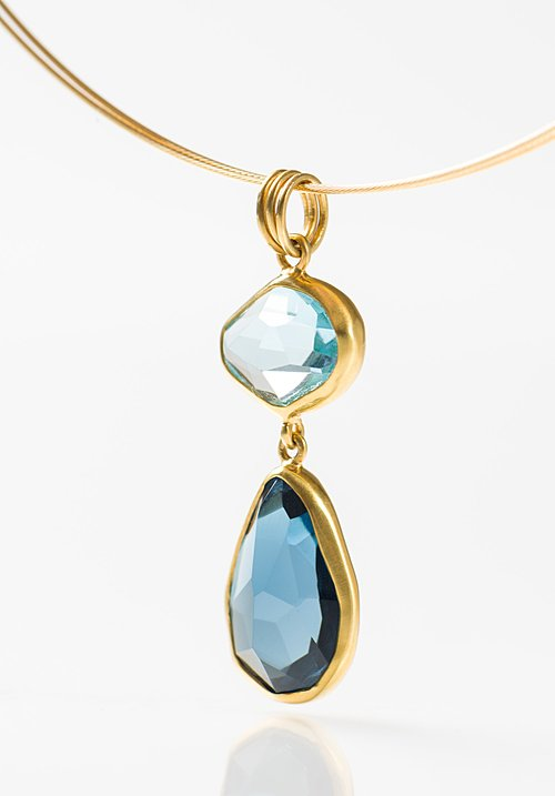 Margoni 18K, Aqua, L.B Topaz Pendant Cable Necklace