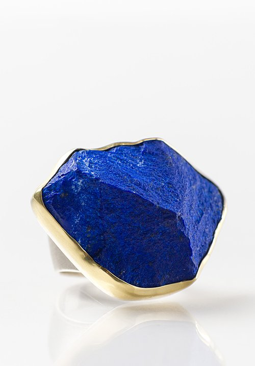 Margoni 18K, Silver, Large Rough Lapis Ring