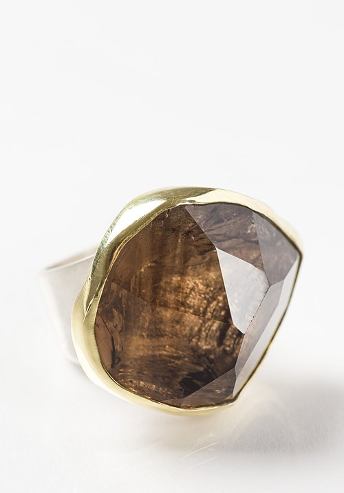 Margoni 18K, Silver, Large Smoky Quartz Ring