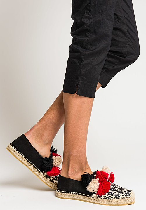 Etro Suede & Straw Espadrilles with Pompoms in Black/White