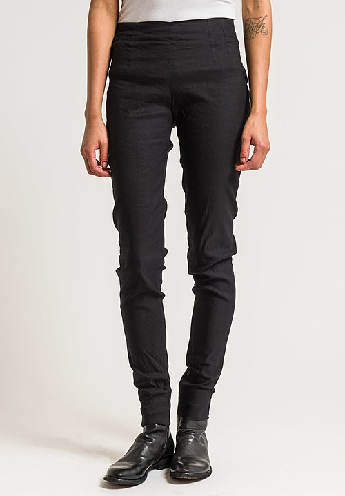 Rundholz Stretch Cotton/Linen Skinny Pants in Black