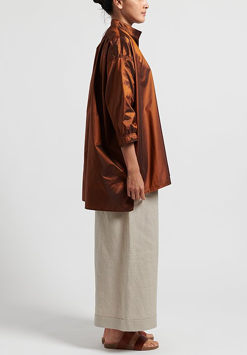 Daniela Gregis Silk Kora Top in Rust