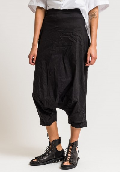 Rundholz Stretch Cotton/Linen Drop Crotch Pants in Black