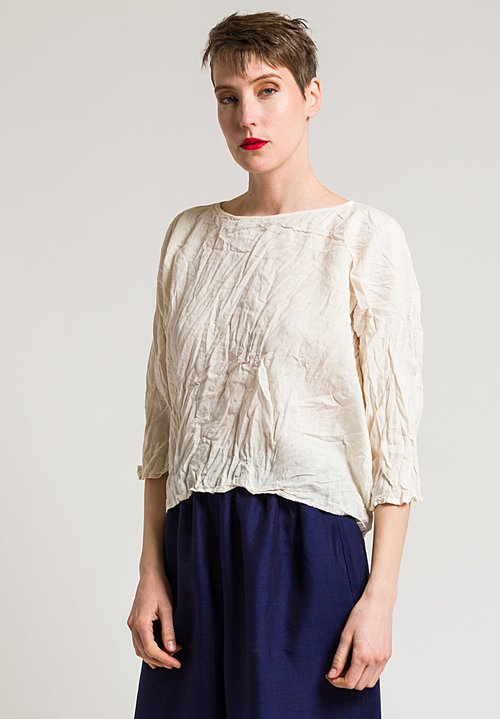 Daniela Gregis Washed Soft Linen Round Neck Top in Light Yellow