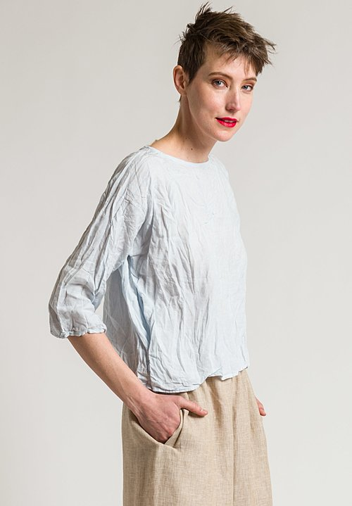 Daniela Gregis Washed Soft Linen Round Neck Top in Light Blue
