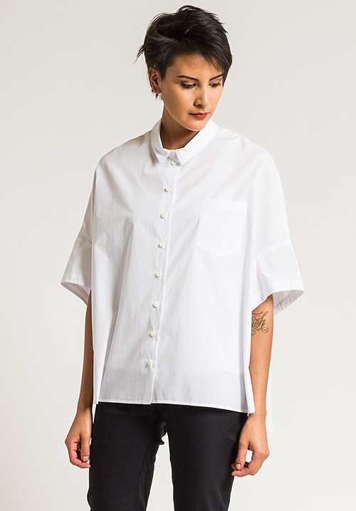 Rundholz Cotton Oversized Collar Shirt in White