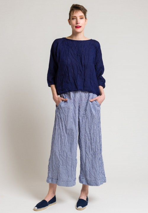 Daniela Gregis Washed Soft Linen Round Neck Top in Blue