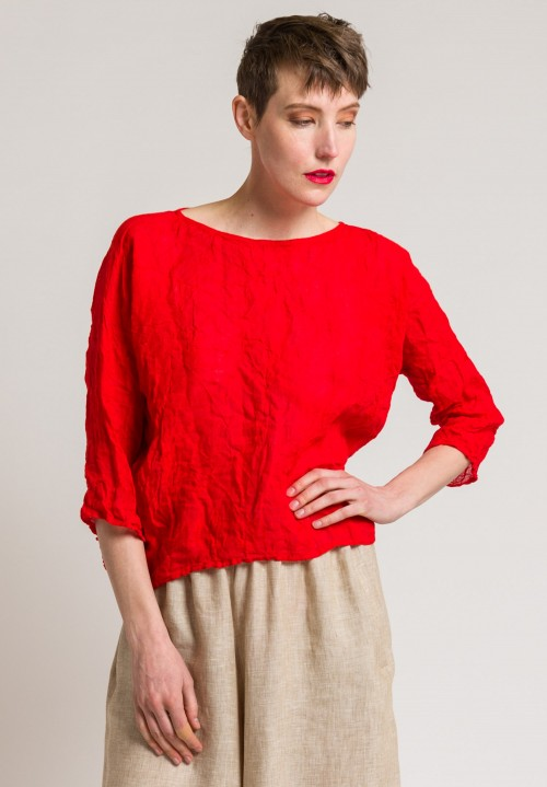 Daniela Gregis Washed Linen Round Neck Top in Red