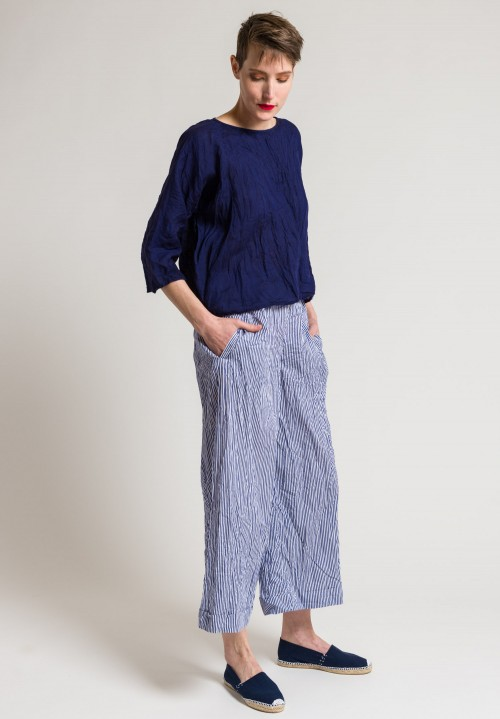 Daniela Gregis Washed Cotton Pants in Blue/White
