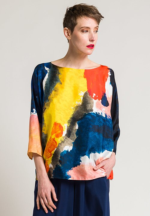 Daniela Gregis Silk Printed Round Neck Top in Countryside Print