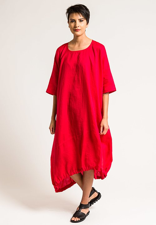 Rundholz Black Label Oversized Drawstring Hem Dress in Red