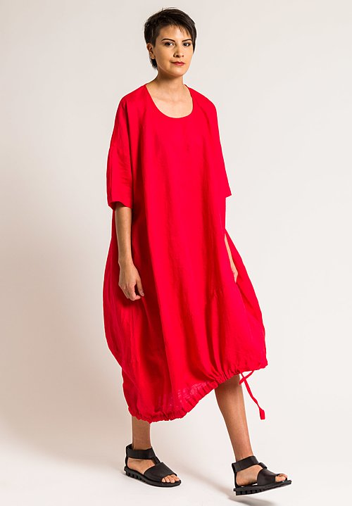 Rundholz Black Label Oversized Drawstring Hem Dress In Red Santa
