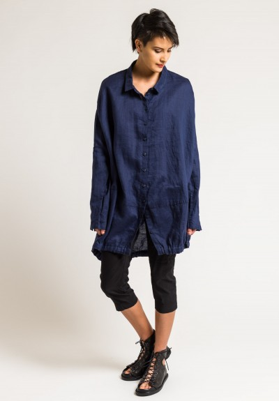 Rundholz Black Label Oversize Button Down Tunic in Blue