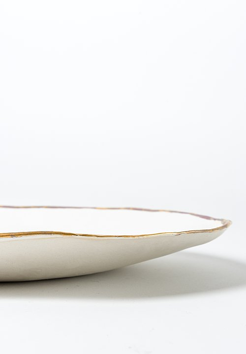 Jan Burtz Large Oval Porcelain Platter White / Gold