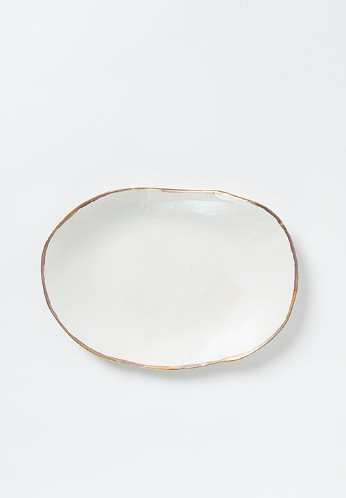 Jan Burtz Porcelain Medium Oval Platter with Gold Trim