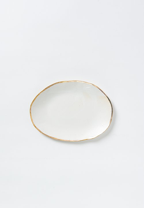 Jan Burtz Small Oval Porcelain Platter with Gold Trim