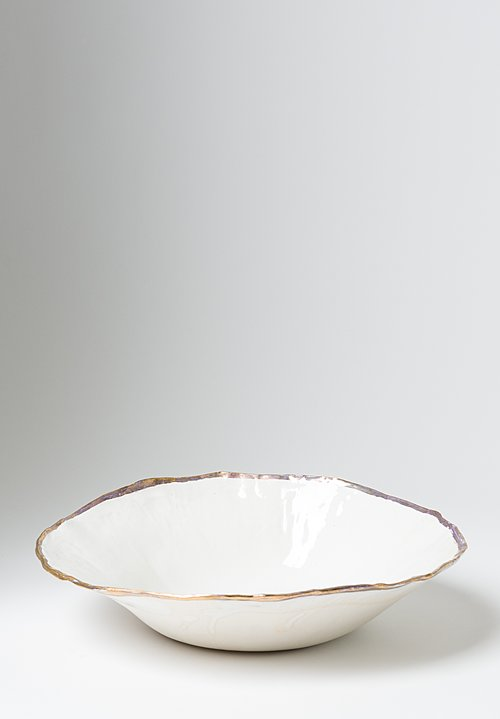 Jan Burtz Large Porcelain Serving Bowl with Gold Trim
