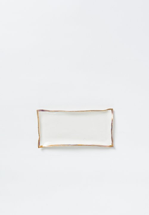 Jan Burtz Rectangle Porcelain Tray with Gold Trim