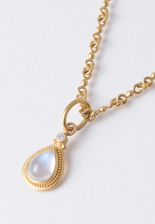 Denise Betesh 22K, Blue Moonstone, Diamond Pendant
