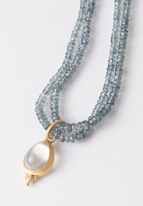 Denise Betesh 22K, Grey Moonstone, Diamond Pendant