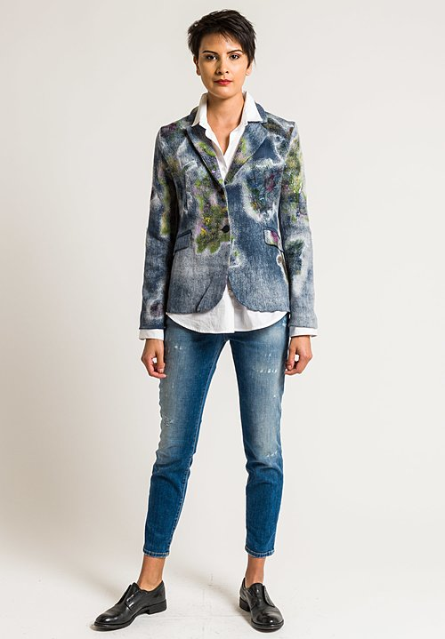 Avant Toi Floral Felted Patchwork Blazer in Blue Navy