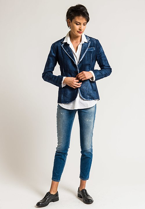 Avant Toi Hemp Lightweight Blazer in Blue Navy