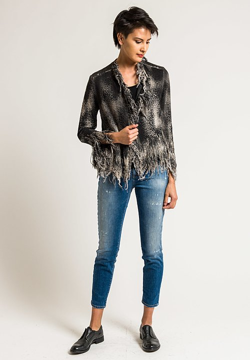 Avant Toi Cotton Short Fringe Jacket in Carruba